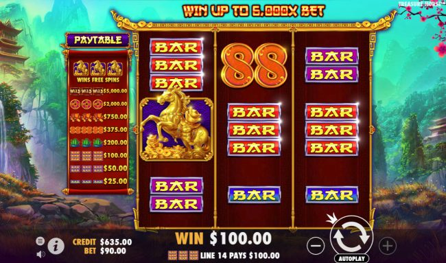 Play slots at Astralbet: Astralbet featuring the Video Slots Treasure Horse with a maximum payout of $90,000