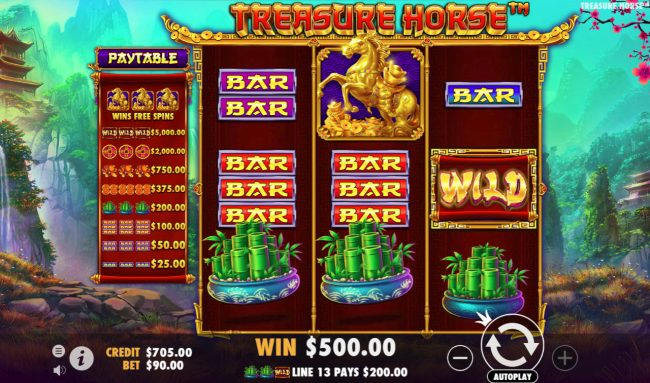 Treasure Horse :: Multiple winning paylines triggers a big win