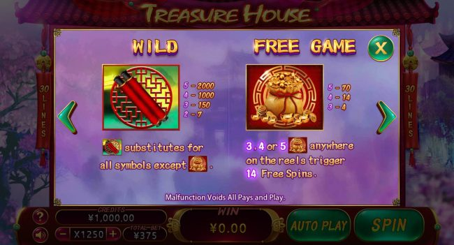 Vegas Crest featuring the Video Slots Treasure House with a maximum payout of $1,500,000