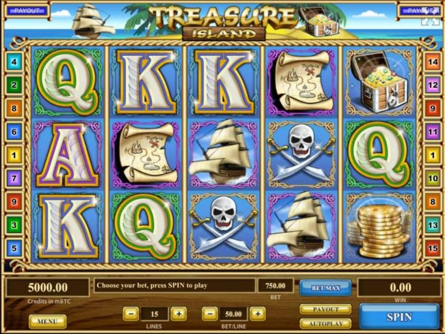 Unique Casino featuring the Video Slots Treasure Island with a maximum payout of $750,000