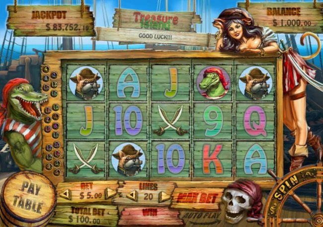 Play slots at High Noon: High Noon featuring the Video Slots Treasure Island with a maximum payout of $12,500