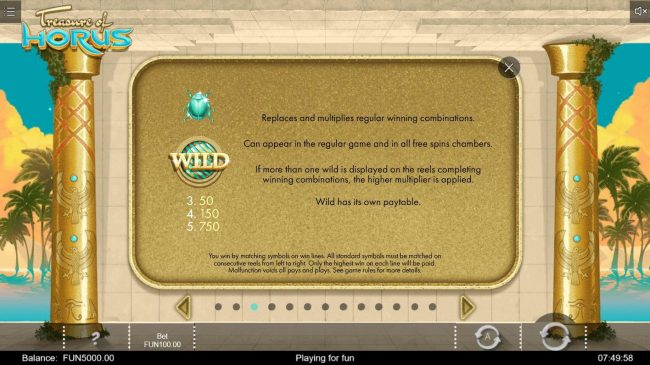 emu Casino featuring the Video Slots Treasure of Horus with a maximum payout of $1,500