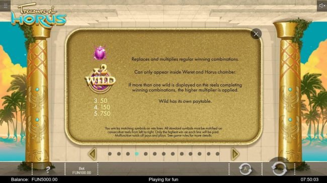 Treasure of Horus :: X2 Wild Rules