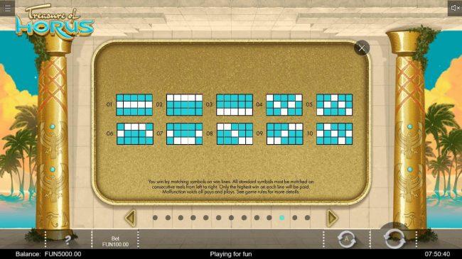 Treasure of Horus :: Paylines 1-10