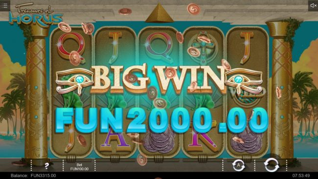 Treasure of Horus :: A 2000 jackpot triggered by a 5 of a kind
