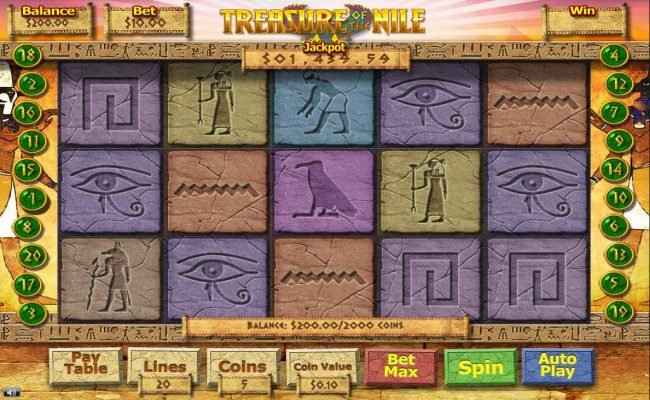 Play slots at 007 Slots: 007 Slots featuring the Video Slots Treasure of the Nile with a maximum payout of $12,500