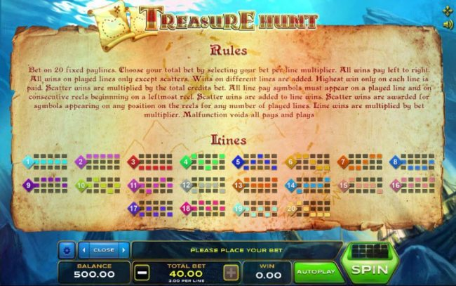 Treasure Hunt :: General Game Rules and Payline Diagrams 1-20