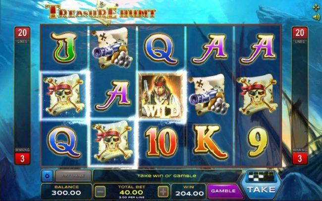 Treasure Hunt :: A three of a kind triggers a 204.00 line pay.