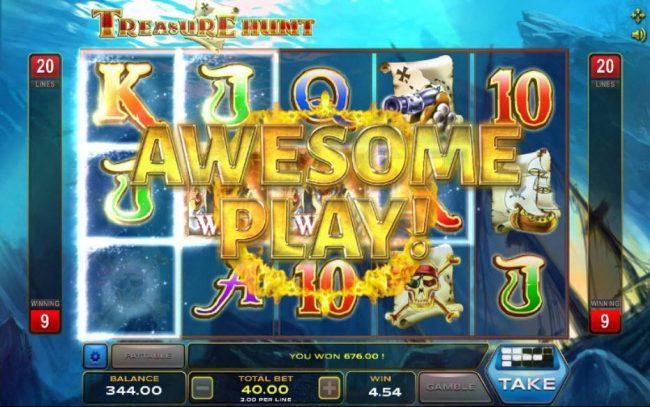 Treasure Hunt :: Multiple winning paylines triggers a 676.00 big win!