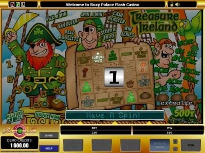 Spinland featuring the Video Slots Treasure Ireland with a maximum payout of $5,000