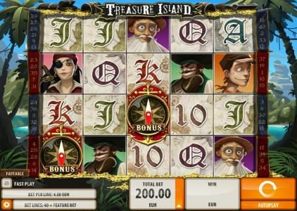 Miami Dice featuring the Video Slots Treasure Island with a maximum payout of $2,000