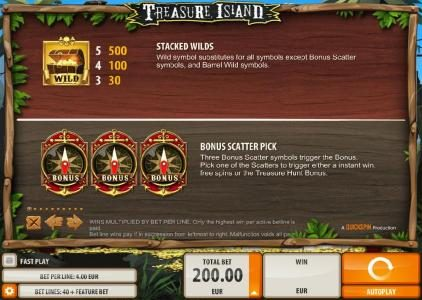 Casinia featuring the Video Slots Treasure Island with a maximum payout of $2,000
