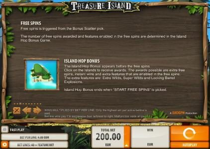 Norskespill featuring the Video Slots Treasure Island with a maximum payout of $2,000