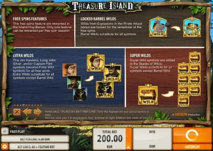Fruity Casa featuring the Video Slots Treasure Island with a maximum payout of $2,000