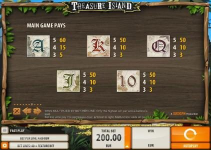 Play slots at Amsterdam Casino: Amsterdam Casino featuring the Video Slots Treasure Island with a maximum payout of $2,000