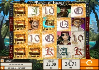 Wild Slots featuring the Video Slots Treasure Island with a maximum payout of $2,000