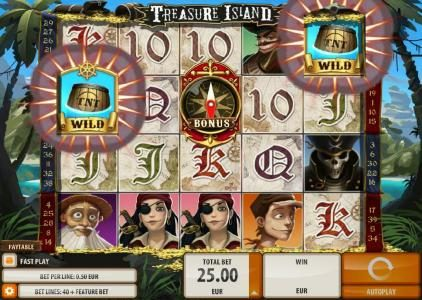 Vera&John featuring the Video Slots Treasure Island with a maximum payout of $2,000