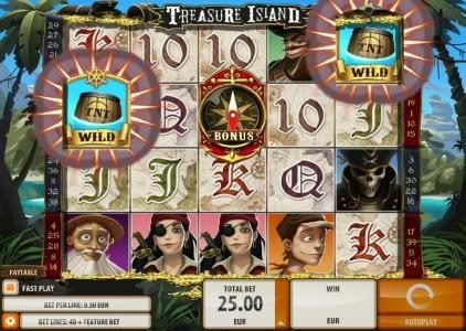 Crystal featuring the Video Slots Treasure Island with a maximum payout of $2,000