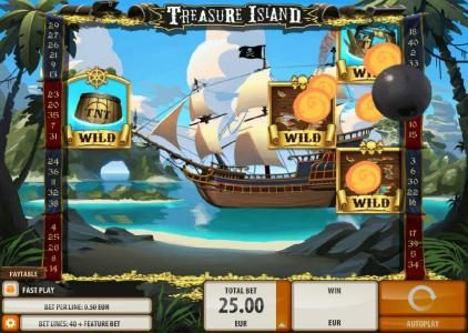 Sin Spins featuring the Video Slots Treasure Island with a maximum payout of $2,000