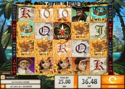Casumo featuring the Video Slots Treasure Island with a maximum payout of $2,000