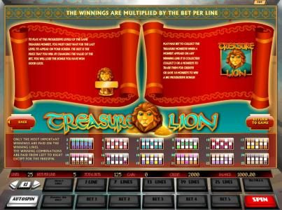 Casdep featuring the Video Slots Treasure Lion with a maximum payout of $2,500