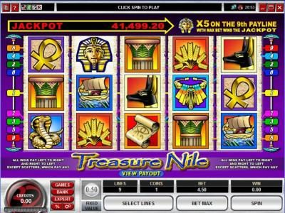 Play slots at Ruby Fortune: Ruby Fortune featuring the Video Slots Treasure Nile with a maximum payout of Jackpot