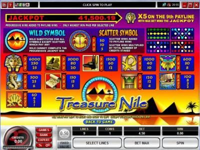 777Dragon featuring the Video Slots Treasure Nile with a maximum payout of Jackpot