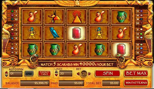 Yoyo featuring the video-Slots Treasure of Isis with a maximum payout of 40,000x