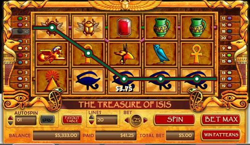 Secret Slots featuring the video-Slots Treasure of Isis with a maximum payout of 40,000x
