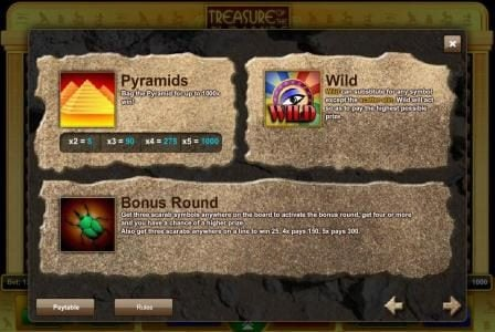 Play slots at Trada: Trada featuring the Video Slots Treasure of the Pyramids with a maximum payout of $1,875