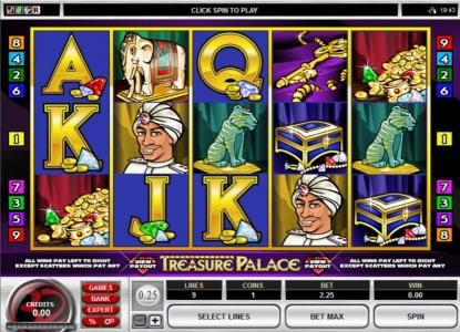 Vegas Spins featuring the Video Slots Treasure Palace with a maximum payout of $20,000