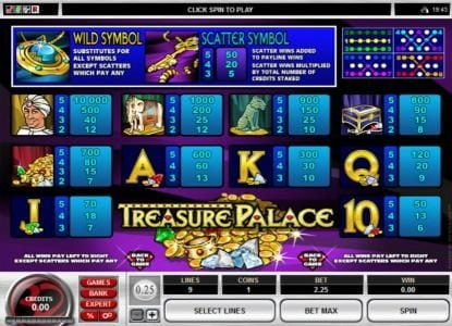 Lucky247 featuring the Video Slots Treasure Palace with a maximum payout of $20,000