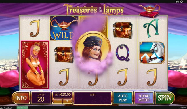 Vernons featuring the Video Slots Treasures of the Lamp with a maximum payout of $480,000