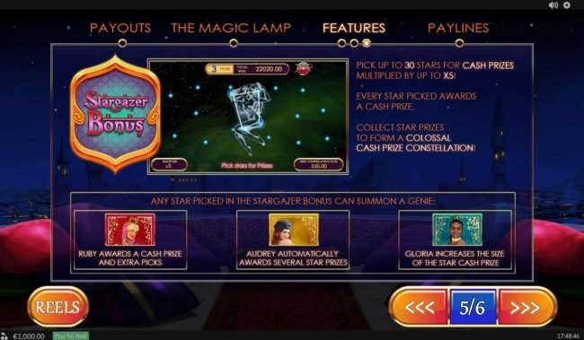 LesA Casino featuring the Video Slots Treasures of the Lamp with a maximum payout of $480,000