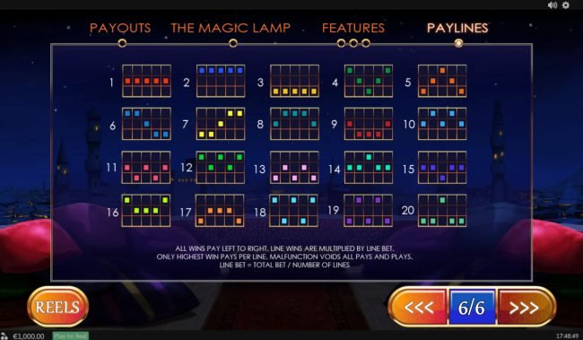 PropaWin featuring the Video Slots Treasures of the Lamp with a maximum payout of $480,000