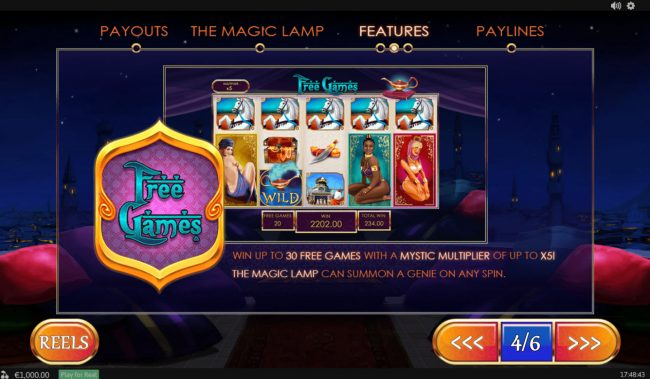 Royal Dice featuring the Video Slots Treasures of the Lamp with a maximum payout of $480,000