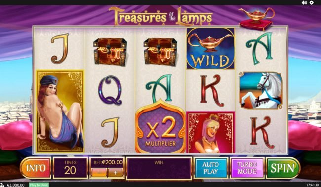 Europlay featuring the Video Slots Treasures of the Lamp with a maximum payout of $480,000