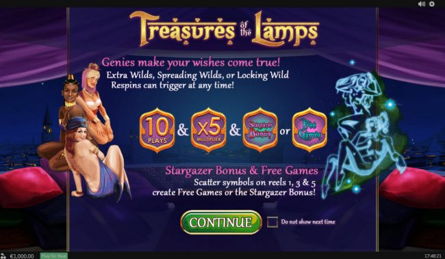 Play slots at AdamEve: AdamEve featuring the Video Slots Treasures of the Lamp with a maximum payout of $480,000
