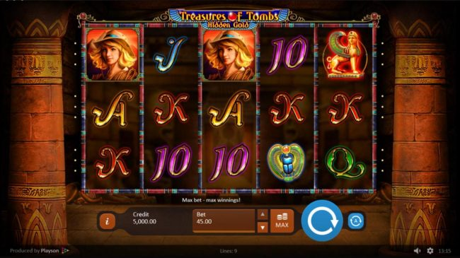 All Wins Casino featuring the Video Slots Treasures of Tombs Hidden Gold with a maximum payout of $225,000