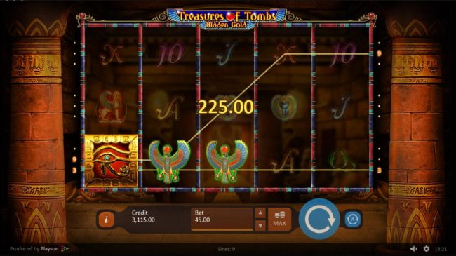 Lord of the Spins featuring the Video Slots Treasures of Tombs Hidden Gold with a maximum payout of $225,000