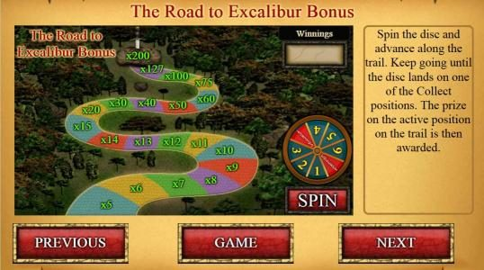 The Road to Excalibur Bonus - Spin the disc and advance along the trail. Keep going until the disc lands on one of the Collect positions.