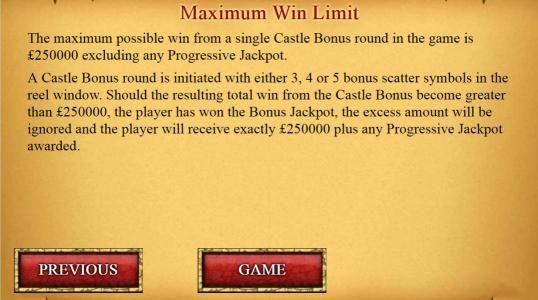 Maximum Win Limit $250,000
