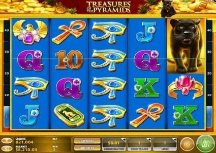 Zinger Spins featuring the Video Slots Treasures of the Pyramids with a maximum payout of $250,000