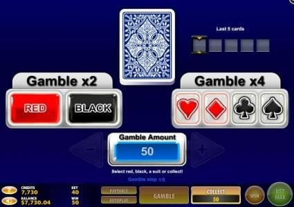 Treasures of the Pyramids :: Gamble feature is available after each winning spin. Select color or suit to play.
