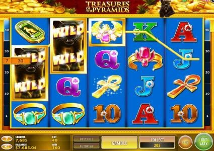 Treasures of the Pyramids :: Multiple winning paylines triggers a big win!