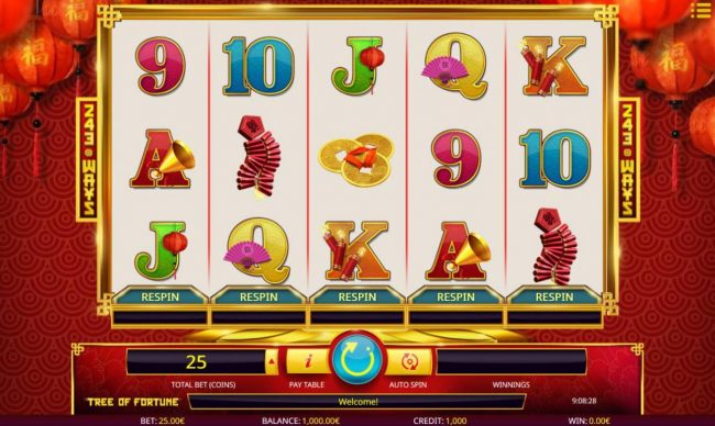 Rose Slots featuring the Video Slots Tree of Fortune with a maximum payout of $100,000