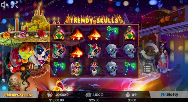 Crypto Wild featuring the Video Slots Trendy Skulls with a maximum payout of $200,000