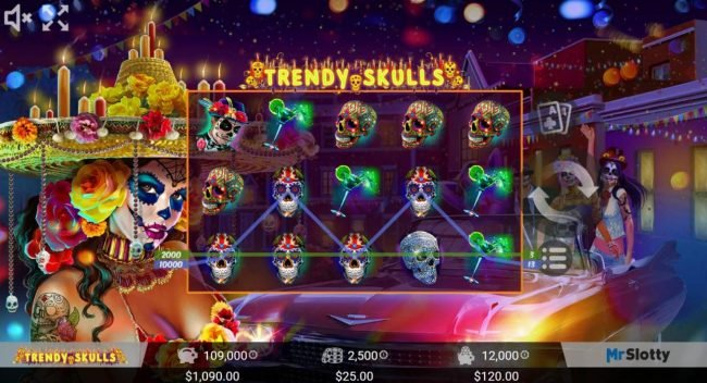 Africa Casino featuring the Video Slots Trendy Skulls with a maximum payout of $200,000