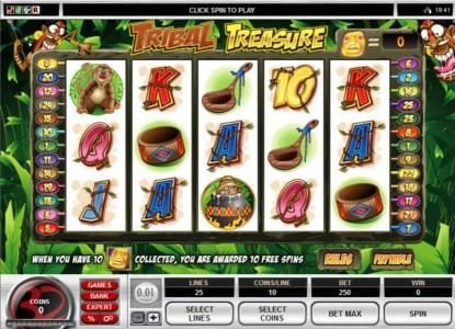 Play slots at 21 Jackpots: 21 Jackpots featuring the Video Slots Tribal Treasure with a maximum payout of $20,000