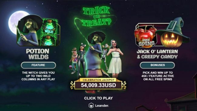 Miami Dice featuring the Video Slots Trick or Treat with a maximum payout of $100,000